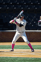 Joe Napolitano (12) of the Wake Forest Demon Deacons at bat against the Virginia Tech Hokies at Wake Forest Baseball Park on March 7, 2015 in Winston-Salem, North Carolina.  The Hokies defeated the Demon Deacons 12-7 in game one of a double-header.   (Brian Westerholt/Four Seam Images)
