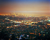 USA, California, Los Angeles, the city lights of Los Angeles at night as seen from Mulholland Drive
