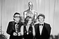 April 10th 1972, Hollywood, Los Angeles, California, USA. French music composer Michel Legrand holding his Oscar for Best Original Score, for the music of the film Summer of '42 directed by Robert Mulligan at the 44th Academy Awards. Also present are American actors Cloris Leachman (C) and Timothy Bottoms who starred in The Last Picture Show. Leachman was awarded the Best Supporting Actress Oscar for her role.