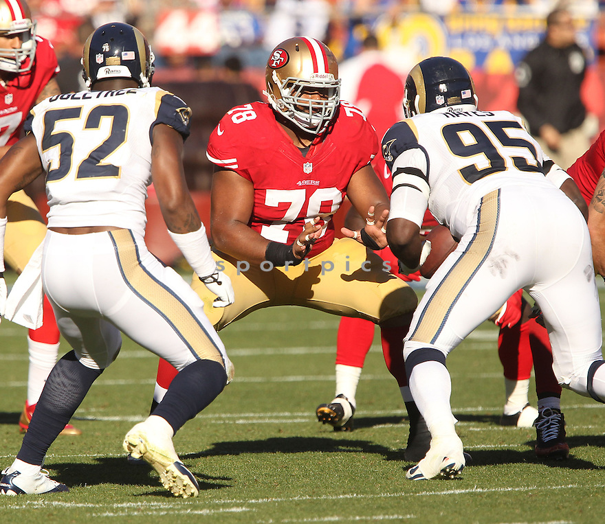 San Francisco 49ers Joe Looney (78) during a game against the St. Louis Rams on December 1, 2013 at Candlestick Park in San Francisco, CA. The 49ers beat the Rams 23-13.