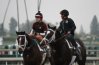 Love and Pride & Turbo Compressor coming off the track at Santa Anita Park in Arcadia California