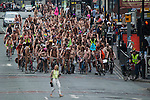 © Joel Goodman - 07973 332324 .  12/06/2015. Manchester, UK. Hundreds take part in the World Naked Bike Ride , which sees cyclists undress and cycle nude through Manchester City Centre . Photo credit : Joel Goodman