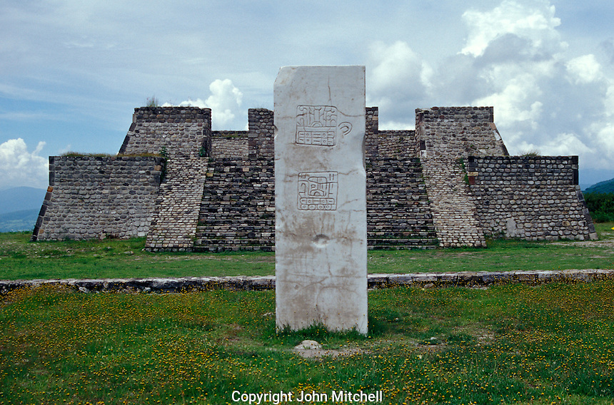 The Plaza of the Stela of the Two Glyphs at the ruins of Xochicalco near Cuernavaca, Morelos, Mexico. Xochicalco flourished between 700 and 900 AD and was once one of the most important ciities in Mesoamerica. Xochicalco was declared a UNESCO World Heritage Site in 1999.