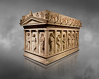 Sarcophagus of The Mourning Women, 4th cent. B.C Greek from the Royal Necropolis of Sidon , Chamber no I, Lebanon, Istanbul Archaeological Museum Inv. 386T  Cat. Mendel 10.