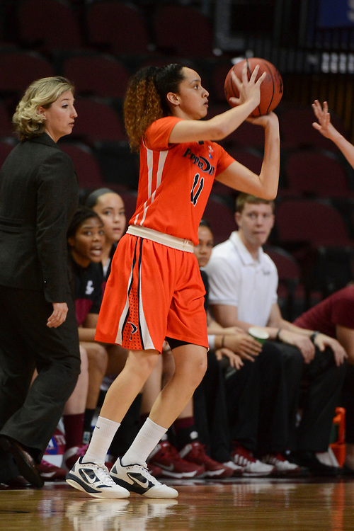 March 6, 2014; Las Vegas, NV, USA; Pepperdine Waves guard Ea Shoushtari (11) shoots the ball against the Santa Clara Broncos during the first half of the WCC Basketball Championships at Orleans Arena. The Waves defeated the Broncos 80-74.