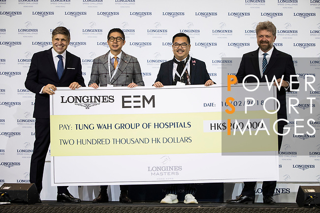 Cheque presentation ceremony at the Longines Speed Challenge during the Longines Masters of Hong Kong at AsiaWorld-Expo on 10 February 2018, in Hong Kong, Hong Kong. Photo by Ian Walton / Power Sport Images