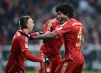 FUSSBALL   1. BUNDESLIGA  SAISON 2012/2013   21. Spieltag  FC Bayern Muenchen - FC Schalke 04                     09.02.2013 Torjubel: Franck Ribery (li) und Dante (re, beide FC Bayern Muenchen)