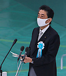 Japan's Prime Minister Shinzo Abe delivers a speech during the memorial service for the war dead of World War II marking the 75th anniversary in Tokyo, Japan on August 15, 2020. (Photo by AFLO)