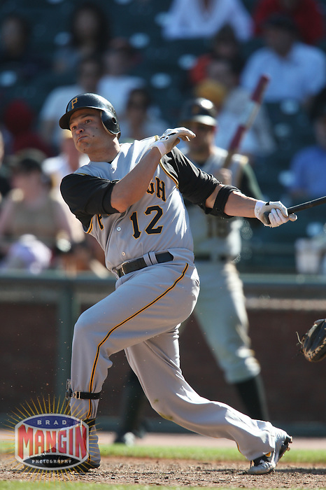 SAN FRANCISCO - SEPTEMBER 7:  Freddy Sanchez of the Pittsburgh Pirates bats during the game against the San Francisco Giants at AT&T Park in San Francisco, California on September 7, 2008.  The Giants defeated the Pirates 11-6.  Photo by Brad Mangin
