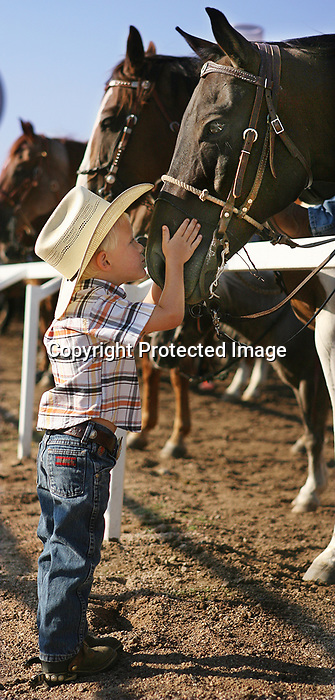 MICHAEL SMITH/WTE..Houston Shipley, 3, gives the horse of Dale Christianson a good luck kiss before steer roping competition Friday morning at Frontier Park.
