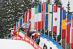 The crowd during the FIS Ski World Cup Men' 15 Km Individual Classic, on February 1, 2014 in Dobbiaco, Toblach. <br /> <br /> &copy; Pierre Teyssot