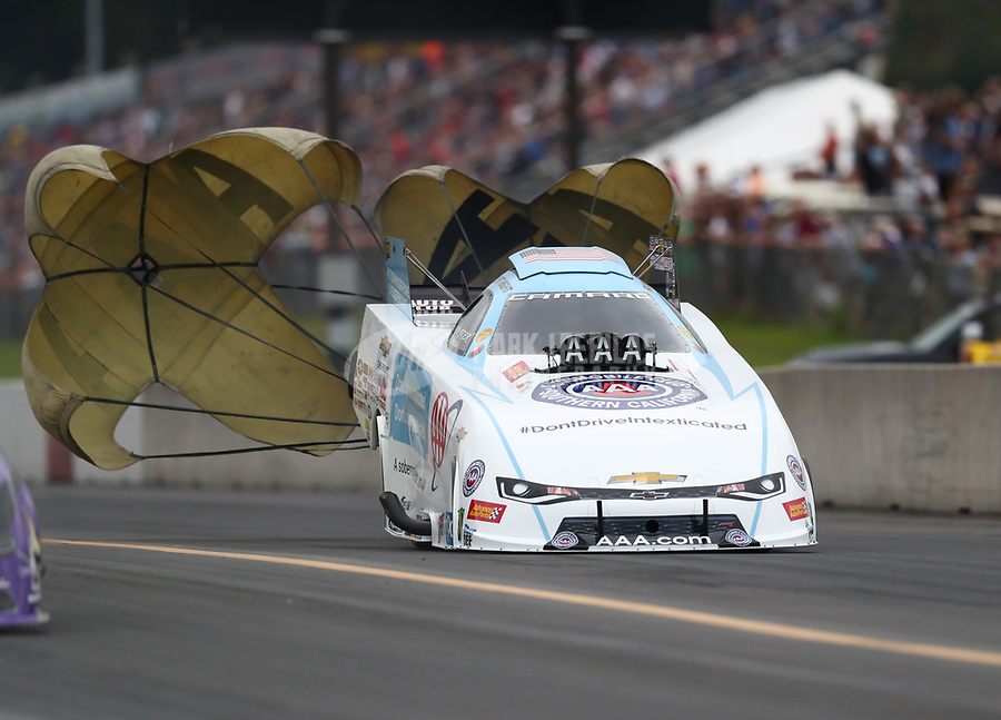 Sep 14, 2018; Mohnton, PA, USA; NHRA funny car driver Robert Hight during qualifying for the Dodge Nationals at Maple Grove Raceway. Mandatory Credit: Mark J. Rebilas-USA TODAY Sports