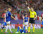 Sweden referee Jonas Eriksson show yellow card to Leicester City FC's Yohan Benalouane during Champions League 2016/2017 Quarter-finals 1st leg match. April 12,2017. (ALTERPHOTOS/Acero)