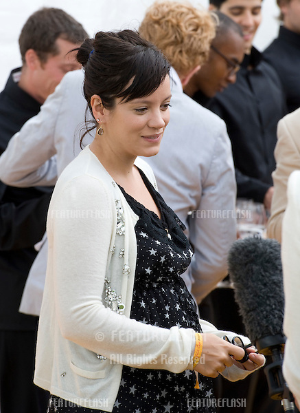 Lily Allen arriving for for the Veuve Cliquot Gold Cup Final at Cowdrey Park in Sussex. 17/07/2011 Picture by: Simon Burchell / Featureflash.