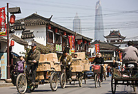 Busy street scene in Old Shanghai, China