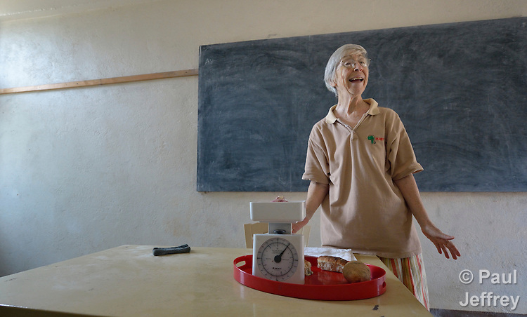 Sister Janet Cashman teaches a class at the Catholic Health Training Institute (CHTI) in Wau, South Sudan. Run by Solidarity with South Sudan, an international network of Catholic organizations supporting the development of the world's newest country, the CHTI trains nurses and midwives from throughout the country. Cashman is a Sister of Charity of Leavenworth from the United States.