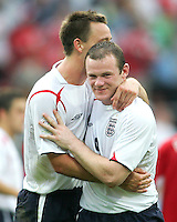 Wayne Rooney and Peter Crouch after the match. England defeated Trinidad & Tobago 2-0 in their FIFA World Cup group B match at Franken-Stadion, Nuremberg, Germany, June 15 2006.