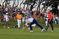 Matteo Manassero (ITA) on the 9th during Round 2 of the KLM Open at Kennemer Golf &amp; Country Club on Friday 12th September 2014.<br /> Picture:  Thos Caffrey / www.golffile.ie