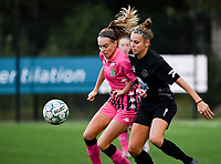 forward Renate Ly Mehevets of Sporting Charleroi of Sporting Charleroi pictured in a fight for the ball with Woluwe's Sheila Broos (20) during a female soccer game between Sporting Charleroi and FC Femina White Star Woluwe on the second matchday of the 2020 - 2021 season of Belgian Scooore Women s SuperLeague , friday 4 th of September 2020  in Marcinelle , Belgium . PHOTO SPORTPIX.BE | SPP | DAVID CATRY