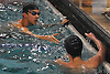 Andy Lee of Great Neck South, top, shakes hands with Chandler Tucker of Bellmore-Merrick after the 100-yard freestyle event in a Nassau County varsity boys swimming meet at Great Neck South Middle School on Monday, Jan. 30, 2017. Great Neck South won the meet by a score of 78-62.