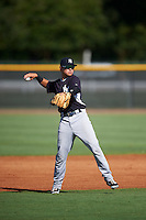 GCL Yankees West shortstop Diego Castillo (31) throws to first during a game against the GCL Yankees East on August 3, 2016 at the Yankees Complex in Tampa, Florida.  GCL Yankees East defeated GCL Yankees West 12-2.  (Mike Janes/Four Seam Images)