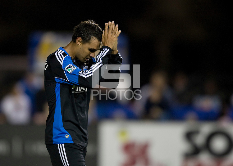 Chris Wondolowski of Earthquakes reacts after missing a goal during the second half of the game against the Timbers at Buck Shaw Stadium in Santa Clara, California on August 6th, 2011.   San Jose Earthquakes and Portland Timbers tied 1-1.