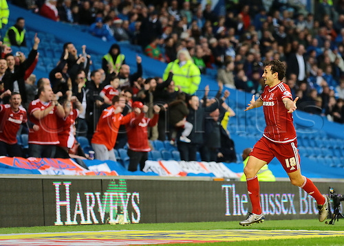 19.12.2015. The Amex Stadium, Brighton, England. Skybet Championship, Brighton and Hove albion versus Middlesbrough.   Middlesbrough Forward Christian Stuani celebrates with his fans after scoring Middlesbrough's third, 3-0 Middlesbrough