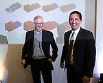 © Joel Goodman - 07973 332324 - all rights reserved . No onward sale/supply/syndication permitted . 28/07/2016 . Manchester , UK . Architect KEN SHUTTLEWORTH and GARY NEVILLE at the launch of the St Michael's city centre development , at the Lord Mayor's Parlour in Manchester Town Hall . Backed by The Jackson's Row Development Partnership (comprising Gary Neville , Ryan Giggs and Brendan Flood ) along with Manchester City Council , Rowsley Ltd and Beijing Construction and Engineering Group International , the Jackson's Row area of the city centre will be redeveloped with a design proposed by Make Architects . Photo credit : Joel Goodman