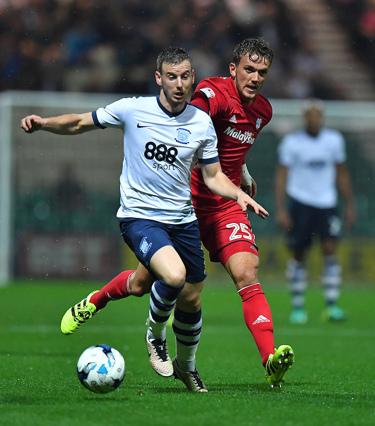 Preston North End's Marnick Vermijl battles with Cardiff City's Emyr Huws<br /> <br /> Photographer Dave Howarth/CameraSport<br /> <br /> The EFL Sky Bet Championship - Preston North End v Cardiff City - Tuesday 13th September 2016 - Deepdale - Preston<br /> <br /> World Copyright &copy; 2016 CameraSport. All rights reserved. 43 Linden Ave. Countesthorpe. Leicester. England. LE8 5PG - Tel: +44 (0) 116 277 4147 - admin@camerasport.com - www.camerasport.com