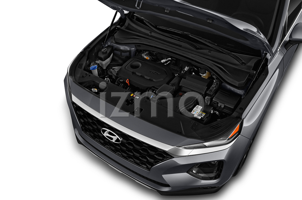 Car stock 2019 Hyundai Santa FE SE 4 Door SUV engine high angle detail view