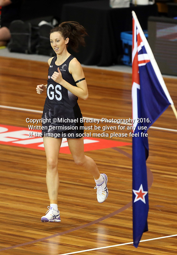 11.09.2016 Silver Ferns Bailey Mes during the Taini Jamison netball match between the Silver Ferns and Jamaica played at Trafalgar Centre in Nelson. Mandatory Photo Credit ©Michael Bradley.