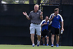 28 August 2016: UNCA head coach Mathes Mennell. The Duke University Blue Devils hosted the University of North Carolina Asheville Bulldogs at Koskinen Stadium in Durham, North Carolina in a 2016 NCAA Division I Men's Soccer match. Duke won the game 5-1.