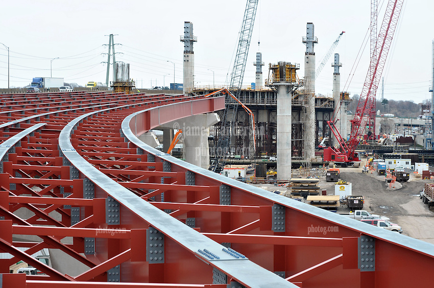 Pearl Harbor Memorial Bridge, New Haven Harbor Crossing Corridor. CT DOT Contract B Photography. Northbound West Approaches toward New, Under Construction, Bridge Spans.