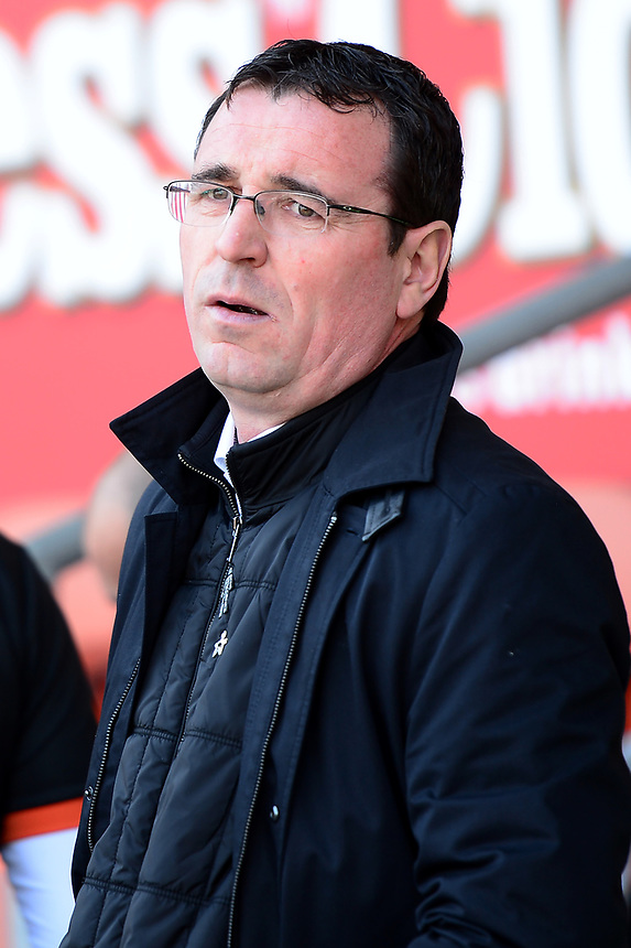 Blackpool manager Gary Bowyer looks on<br /> <br /> Photographer Richard Martin-Roberts/CameraSport<br /> <br /> The EFL Sky Bet League Two - Blackpool v Grimsby Town - Saturday 8th April 2017 - Bloomfield Road - Blackpool<br /> <br /> World Copyright &copy; 2017 CameraSport. All rights reserved. 43 Linden Ave. Countesthorpe. Leicester. England. LE8 5PG - Tel: +44 (0) 116 277 4147 - admin@camerasport.com - www.camerasport.com