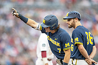 Michigan Wolverines outfielder Jesse Franklin (7) celebrates after a hit during Game 6 of the NCAA College World Series against the Florida State Seminoles on June 17, 2019 at TD Ameritrade Park in Omaha, Nebraska. Michigan defeated Florida State 2-0. (Andrew Woolley/Four Seam Images)