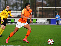 20200226 Kalmthout, BELGIUM : Dutch Esmee Brugts (9) with the ball during the international friendly soccer match between the national youth Women Under 17 teams of Belgium and the Netherlands, a friendly game in preparation for the UEFA Elite rounds in March in Belgium for the Belgian team, Wednesday 26th of February 2020 at Sportpark Heikant in Kalmthout, BELGIUM. PHOTO: SPORTPIX.BE | Sevil Oktem