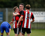 Jordan Hallam of Sheffield Utd celebrates scoring the second goal during the professional development league two match at the Bracken Moor Stadium, Stocksbridge. Picture date 21st August 2017. Picture credit should read: Simon Bellis/Sportimage