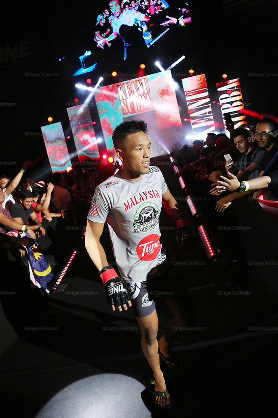 Keanu Subba, MIMMA Featherweight Champion, enters the stadium<br />