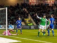 28th February 2020; Easter Road, Edinburgh, Scotland; Scottish Cup Football, Hibernian versus Inverness Caledonian Thistle; Adam Jackson of Hibernian celebrates the opening goal to make it 1-0 to Hibernian in the 38th minute