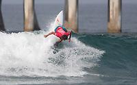 Huntington Beach, CA - Sunday August 06, 2017: Carlos Munoz during a World Surf League (WSL) Qualifying Series (QS) Quarterfinal heat in the 2017 Vans US Open of Surfing on the South side of the Huntington Beach pier.