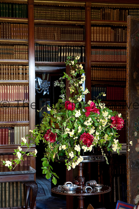 A lively flower display in the library