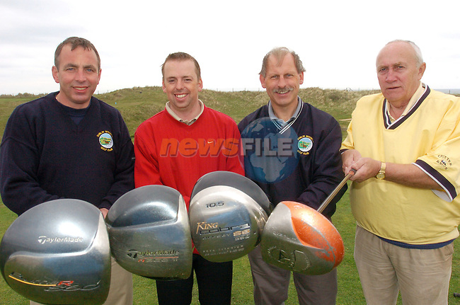 Mick McKeown, Arthur Cjoice, Damien Boyle and Paddy Byrne at the Le cheile Golf Classic in Laytown & Bettystown Golf Club..Photo AFP/NEWSFILE/FRAN CAFFREY..(Photo credit should read FRAN CAFFREY/NEWSFILE/AFP)...This Picture has been sent you under the condtions enclosed by:.Newsfile Ltd..the Studio,.Millmount Abbey,.Drogheda,.Co Meath..Ireland..Tel: +353(0)41-9871240.Fax: +353(0)41-9871260.GSM: +353(0)86-2500958.email: pictures@newsfile.ie.www.newsfile.ie.FTP: 193.120.102.198..This picture is from Fran Caffrey@newsfile.ie