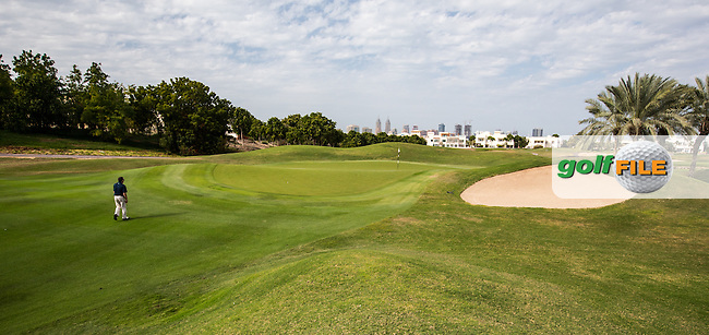 12th green at The Address Montgomerie Golf Club, Dubai, United Arab Emirates.  27/01/2016. Picture: Golffile | David Lloyd<br /> <br /> All photos usage must carry mandatory copyright credit (&copy; Golffile | David Lloyd)