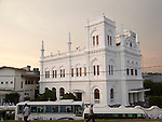 White Meeran Jumma mosque building in the historic town of Galle, Sri Lanka, Asia