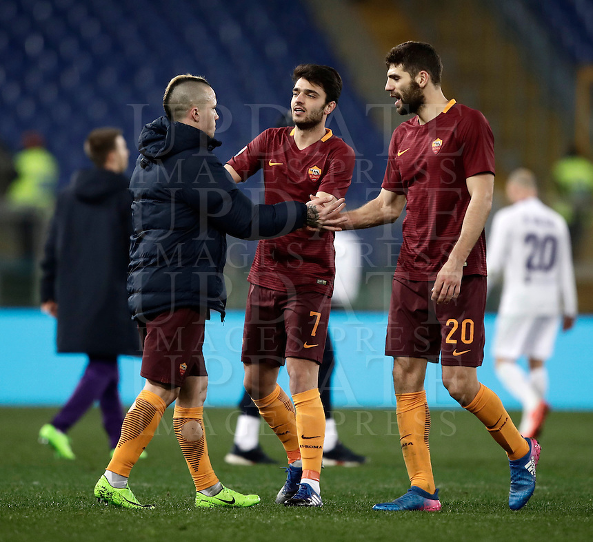 Calcio, Serie A: Roma, Stadio Olimpico, 7 febbraio 2017.<br /> Roma's Radja Nainggolan (l) Clément Grenier (c) Federico Fazio celebrate after winning the Italian Serie A football match between AS Roma and Fiorentina at Roma's Olympic Stadium, on February 7, 2017.<br /> UPDATE IMAGES PRESS/Isabella Bonotto