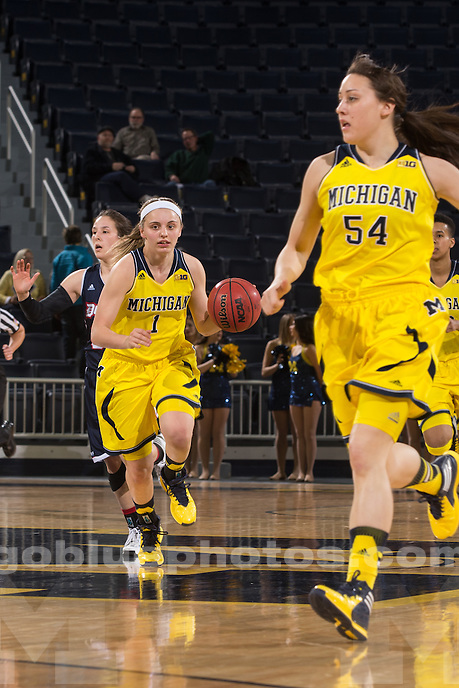 University of Michigan women's basketball team defeats Duquesne, 68-52, in the second round of the WNIT at Crisler Center in Ann Arbor, Mich., on March 24, 2014.