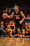 March 6, 2015; Las Vegas, NV, USA; Pacific Tigers forward David Taylor (24) dribbles the basketball against the San Francisco Dons during the first half of the WCC Basketball Championships at Orleans Arena.