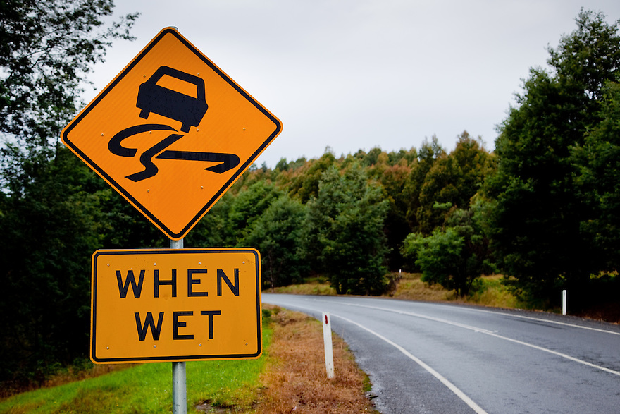 Slippery when wet warning sign. Tasmania. Australia.