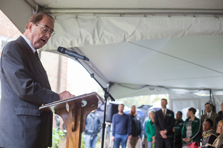 Dr. Rupert Cutler, a descendant of Manasseh Cutler, speaks at the Cutler Hall Bicentennial celebration on October 21, 2016.