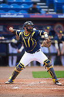 Michigan Wolverines catcher Harrison Wenson (7) throws down to second during the second game of a doubleheader against the Canisius College Golden Griffins on February 20, 2016 at Tradition Field in St. Lucie, Florida.  Michigan defeated Canisius 3-0.  (Mike Janes/Four Seam Images)